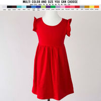 Smocked Popular Style Solid Cotton Dresses Wholesale Baby Girls Pearl Dress Kids Clothing Flutter Sleeve Dress