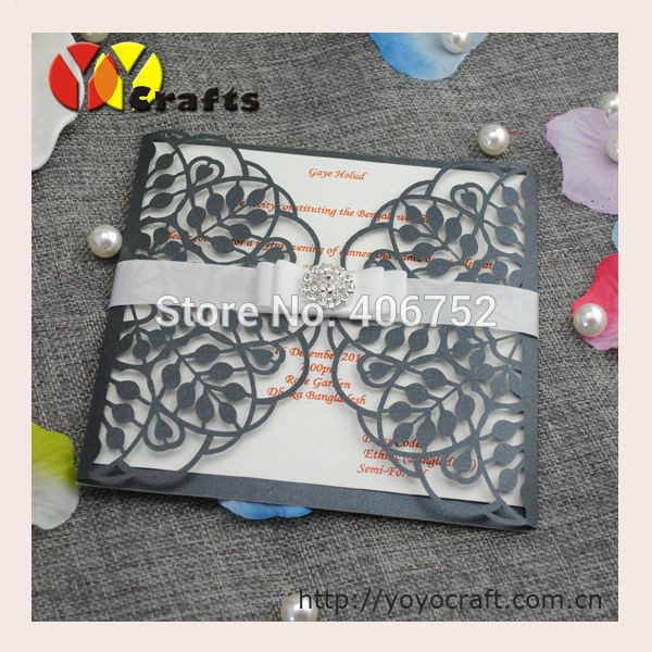Newest Vintage Wedding Invitation Card Handmade 3d Leaf Shape Muslim