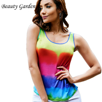 Beauty Garden Women Tanks Top Back Hollow Out Rainbow Printing Tops Sexy Women Clothing