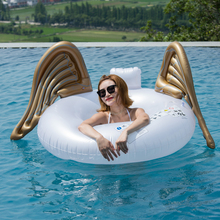 110cm Giant Gold Angel Wing Swimming Ring 2018 Summer Ride-on Inflatable Pool Float Air Mattress Lounger Water Party Outdoor Toy 150cm giant inflatable toucan pool float 2018 newest ride on swan inflatable swimming ring water mattress summer water party toy
