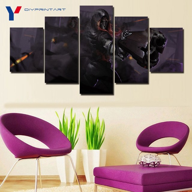 Overwatch Reaper 5 Panels Canvas Art Game Poster Canvas Pictures for Living Room A0369 4