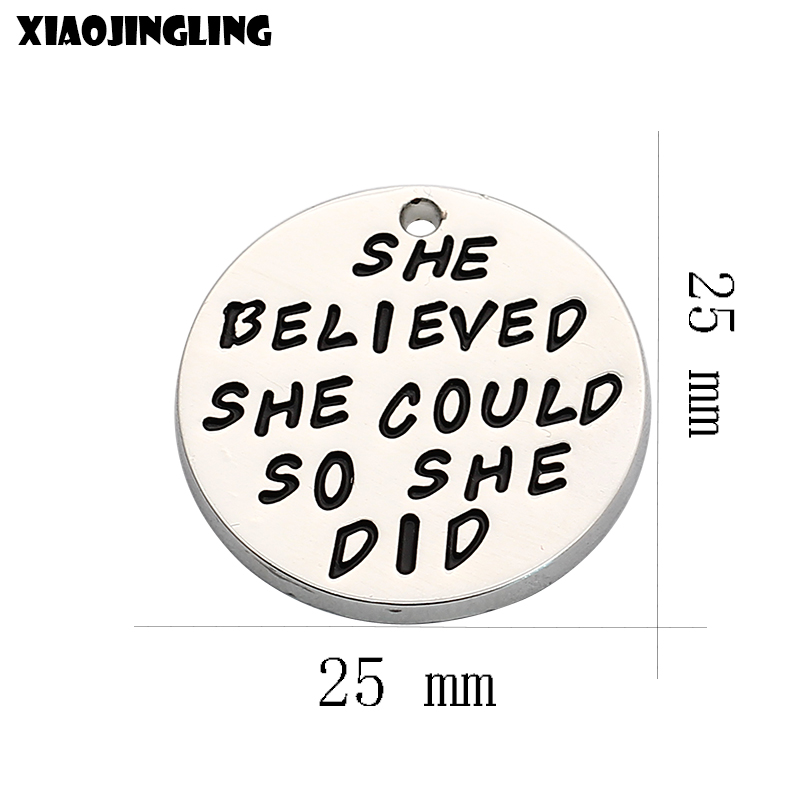 XIAOJINGLING 2017 New Fashion DIY Pendant She Believed She Could So She Did Fashion Charm Necklace Bracelet Jewelry Pendant Gift