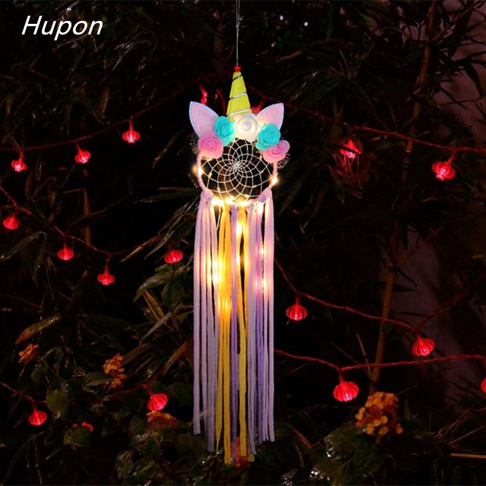 Active Unicorn Dream Catcher Led Lights Girl Baby Bedroom Wall Hanging Decorations Wedding Unicorn Party Favor Supplies Wind Chimes Customers First Festive & Party Supplies
