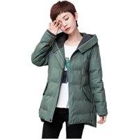 Winter jacket women warm hooded orange green 97.5% cotton medium style loose womens coats plus size M-5XL parka women 2017 new