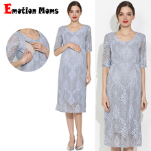 Emotion Moms New Lace Maternity Clothes Party Maternity Dresses Nursing Breastfeeding Dress For Pregnant Women Pregnancy Dress maternity dress summer new large size clothes for pregnant women high quality pregnancy dress lace fashion maternity dresses