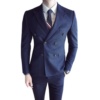 ( Jacket + Vets + Pants ) High-end Brand Men's Stripe Formal Business Double-breasted Suit 3 Sets / Groom Wedding Dress Suits