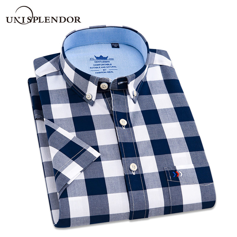 100%Cotton 2019 Black Plaid Shirt Men Shirts