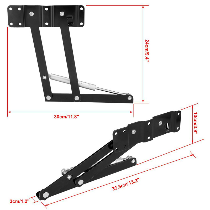 1pair 14cm Lifting Height Lift Up Coffee Table Desk Furniture Gas Hydraulic Hinge