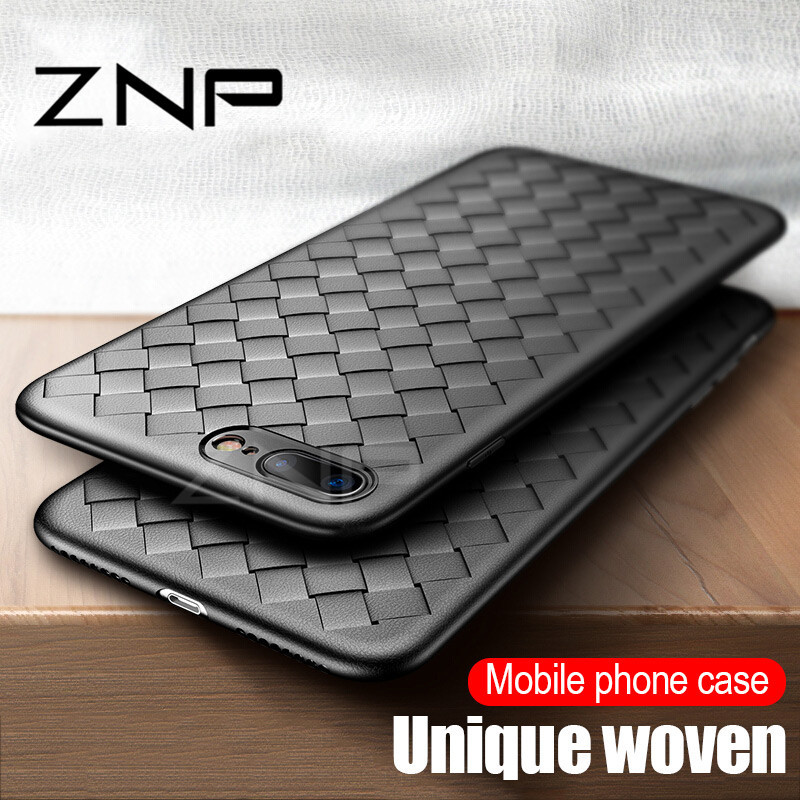 ZNP  Ultra Thin Slim Back Weave Cases For Iphone 8 7 6 6S Plus X 10 Case Full Cover For Iphone X 8 7 6 Plus Soft TPU Case