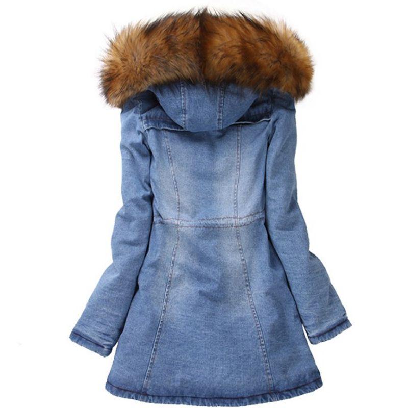 WENYUJH Brand Denim Jacket Women's Fur Collar Coat Zipper Denim Jeans Parka Female Long Parka Warm Cotton Fleece Hoody Outwear 1