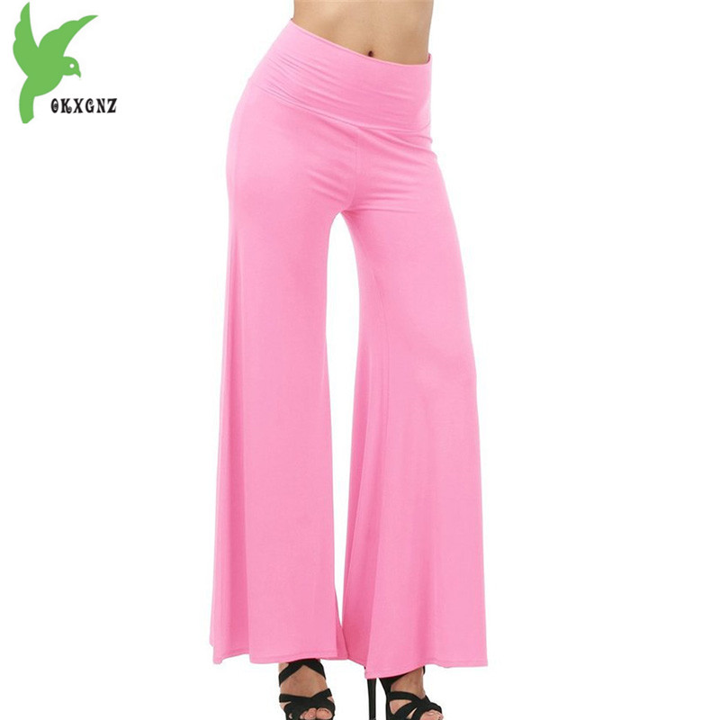 Wide     leg     pants   for women 2018 summer High waist casual trousers Milk silk fabric Plus size Flared   pants   elastic waist OKXGNZ1834
