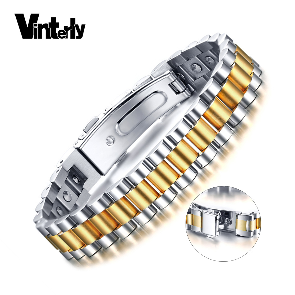 Vinterly 99.99% Pur Germanium Bracelet pour Hommes Femmes Énergie Santé Bracelet Hommes En Acier Inoxydable Or-couleur Chaîne Bracelets Hommes