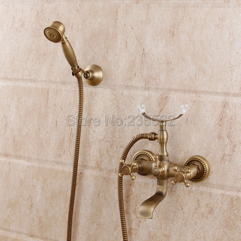 Antique Brass Finish Bathroom Shower Taps Wall Mounted Bathtub Faucet Set Dual Handle Cold and Hot Water Mixer Tap ltf352 thermostatic bathroom shower faucet solid brass bathtub mixer tap chrome finish wall mounted