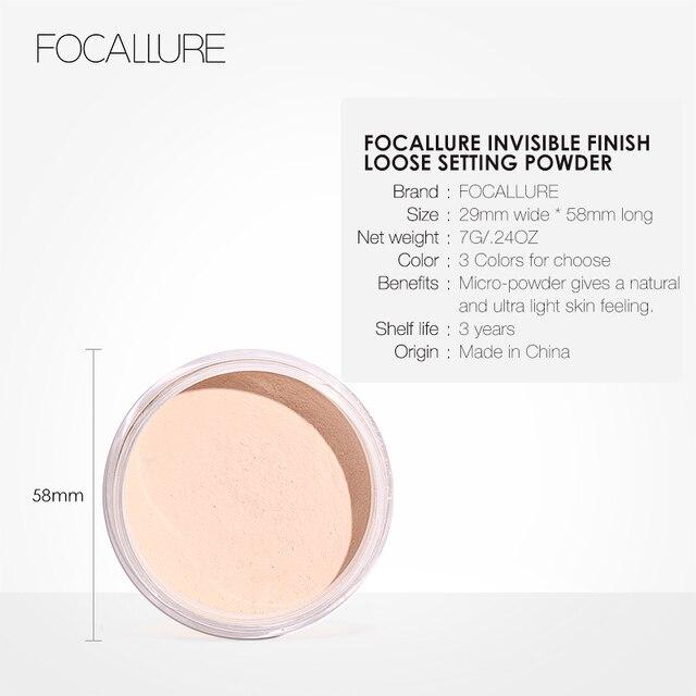 فوكالور العلامة التجارية الجديدة ماكياج مسحوق 3 ألوان فضفاضة مسحوق ماكياج الوجه مقاوم للماء مسحوق فضفاض الجلد إنهاء مسحوق 5
