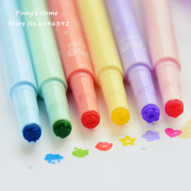 Korea Stationery Cute Candy Colored Kawaii Highlighter Inks Stamp Pen Creative Marker
