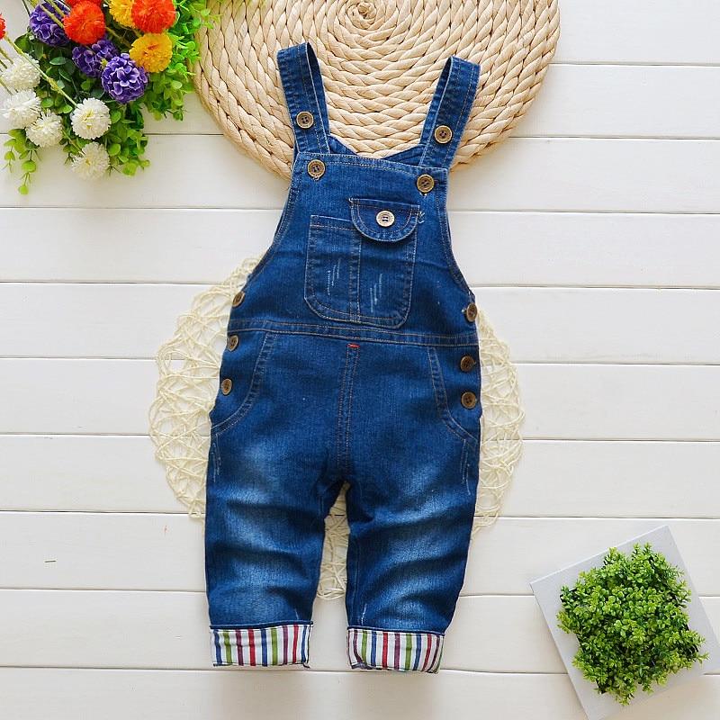 BibiCola Baby Pants Toddler Boys Girls Overalls Pants Kids Denim Bib Jeans Jumpsuit Clothes