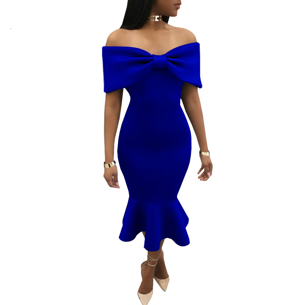 Off Shoulder Ruffles Party Dress Black Blue Red Bow Slash
