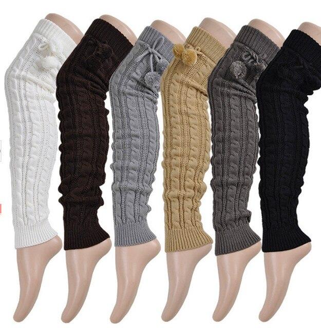 Novo Estilo de Inverno Crochet Malha Polainas Longas Outono Longa Sobre O Joelho Alta Meias Meias Casuais Malha Aquecedores do pé meias