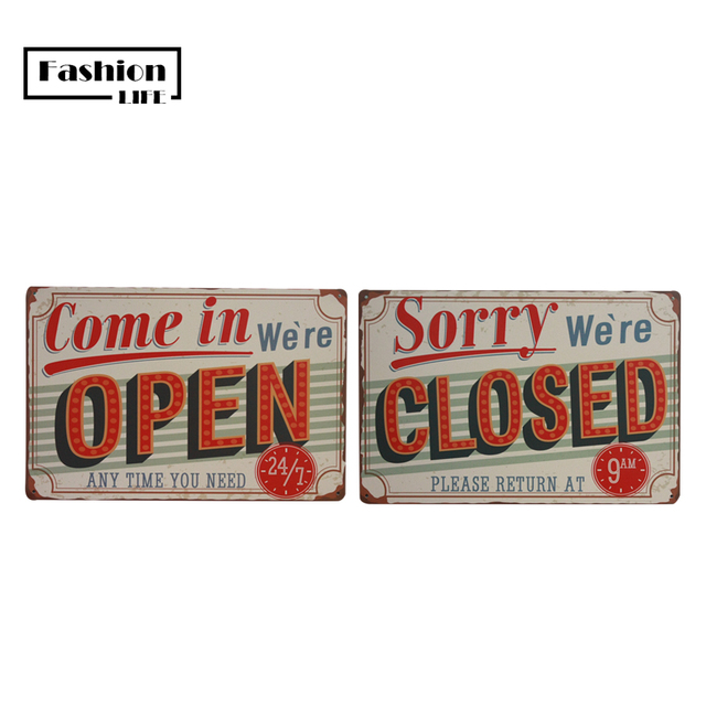 shop openclose set chic home bar vintage metal signs home decor vintage tin signs pub vintage