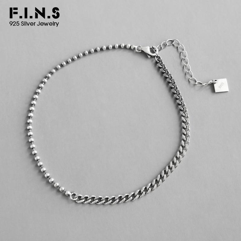 F.I.N.S Antique Silver 925 Anklet Bracelet Barefoot Sandals Bead Link Chain 925 Sterling Silver Foot Bracelets for Women