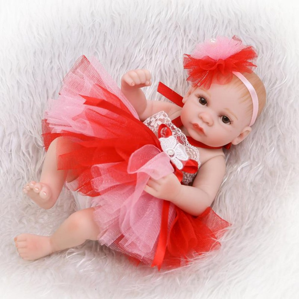26CM Fashion Red Dress Handmade Reborn Dolls Mini Girls Gift Full Body Silicone Newborn Bebe Princess Babies Dolls Toy Brinquedo