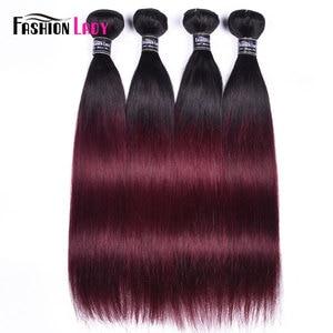 Image 2 - Fashion Lady Per colored Brazilian Straight Hair 3/4 Bundle 1b/99j Ombre Human Hair Extensions Non remy Hair Weave Bundles