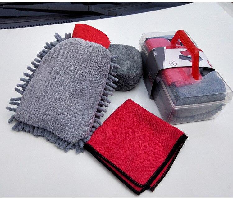 Car Wash Kit Microfiber Towel Sponge and Glove Auto Cleaning Set Car Washing Cloth Set Auto Wash and Dry Kit Car Wash Box X13