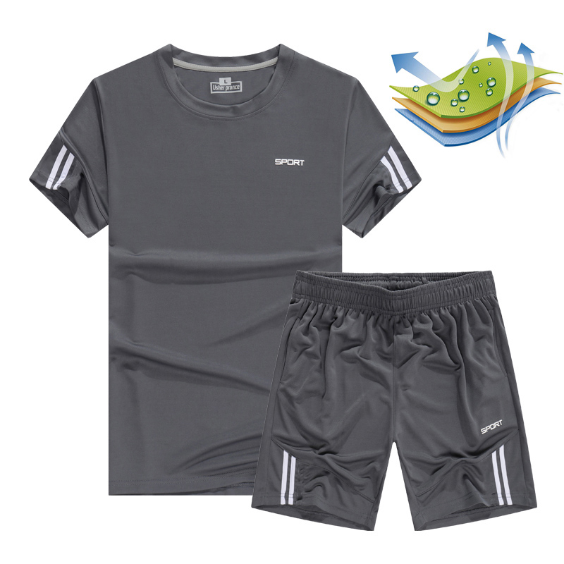 Us 10 33 40 Off Quick Dry Men S Sport Running Suits Basketball Soccer Training Tracksuits Jersey Summer Fitness Sportswear Gym Clothing Sets In