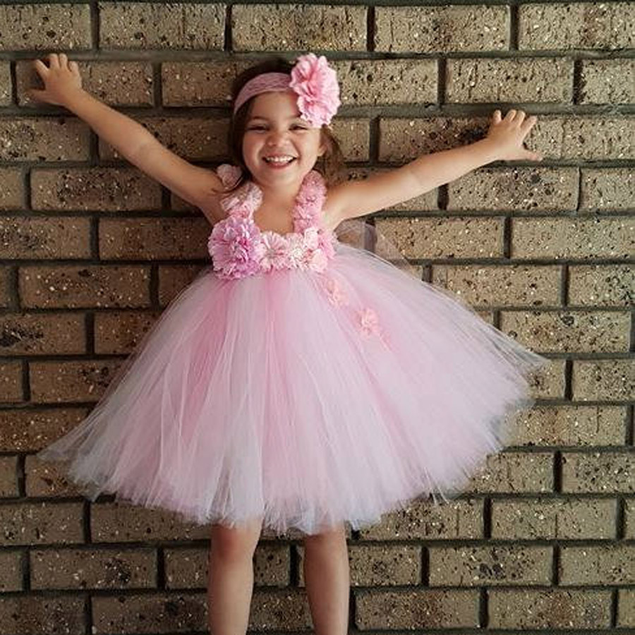 Gorgeous Pink and White Girls Tutu Dress with Headband Princess Birthday Party Wedding Costume Photo Props Tulle Dress TS110