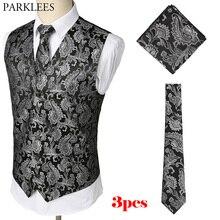 Для мужчин s Черный Slim Fit Для мужчин, комплект из 3 предметов, жилет+ галстук-бабочка+ платок, комплект Пейсли жаккард костюм-смокинг для детей жилет для вечерние свадебные туфли