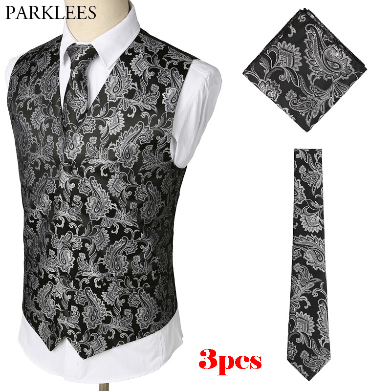 Mens Black Waistcoats Slim Fit Men 3pcs Vest+Necktie+Handkerchief Set 2018 Paisley Jacquard Tuxedo Suit Vest For Party Wedding