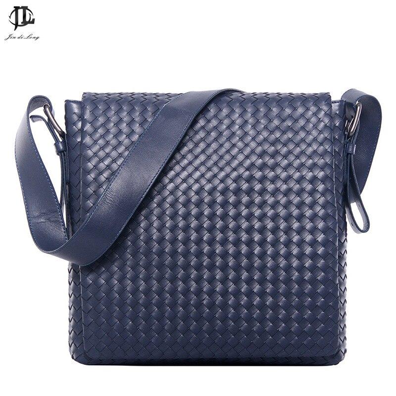ФОТО *? Fashion Korea style Hot Men Messenger Bags Original Design Leather Water-proof Bag Men's cross weave Travel school Bags