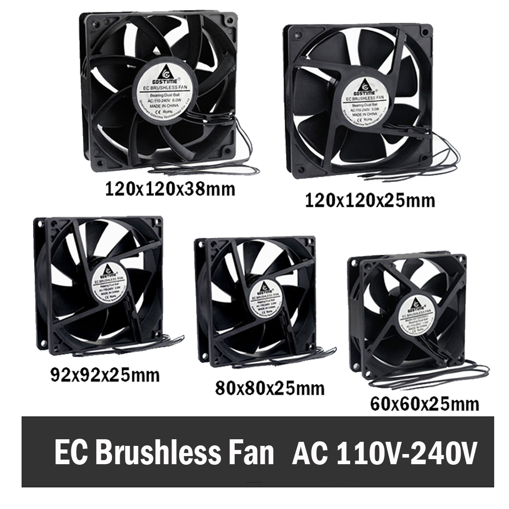 Gdstime EC Brushless Cooling Fan AC 110V 120V 220V 240V Ball Bearing Axial Fan 60MM 80MM 90MM 120MM