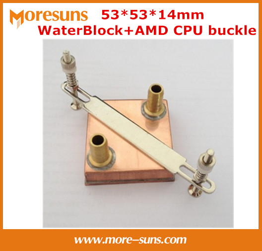 Free shipping 53*53*14mm Pure copper Water Cooling Block for AMD CPU buckle+Computer copper CPU Water Block