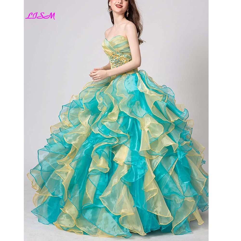 Vintage Sweetheart Ruffles Beadings Prom Dresses Quinceanera Robe Long Organza Ball Gown Sweet 16 Prom Dress Vestidos De 15 Anos
