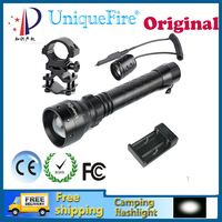 UniqueFire 1502 XPE LED Adjustable Waterproof Flashlight 3W LED Bulbs White Light+Two Slot Charger +Scope Mount + Rat Tail