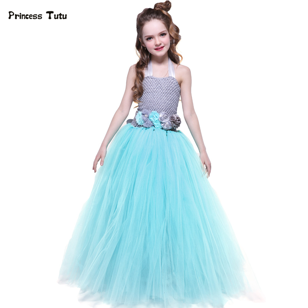 купить Turquoise Birthday Party Tutu Dress Kids Girls Princess Tulle Flower Girl Dresses For Weddings Children Pageant Ball Gown Dress дешево