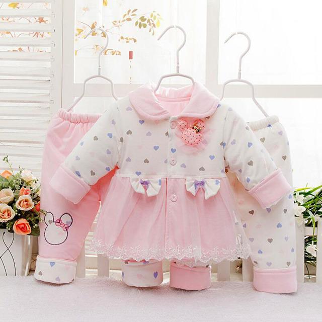 Venta caliente de los Bebés de Invierno Ropa de Bebé Conjunto de encaje de algodón abrigos y Pantalones $ Number Piezas Traje de Niño Recién Nacido de La Muchacha de Calidad Superior trajes