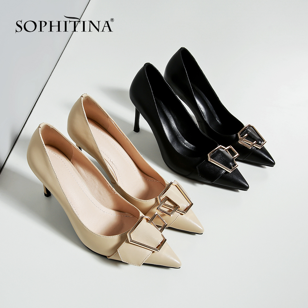 SOPHITINA 2019 Spring New High quality Cow Leather Shoes Convenient Slip on Pumps for Female with