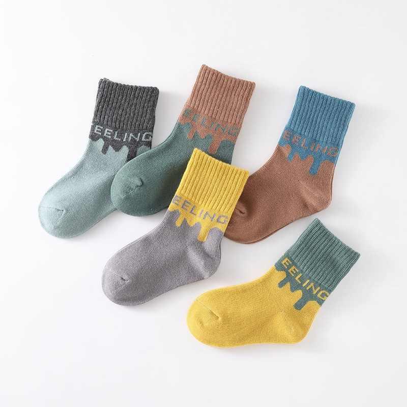 5 pairs Baby and Kid Socks Green /& Orange
