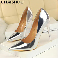 CHAISHOU Women's Fashion PU High Heels Shoes Wonen Pumps Sexy Pointed Party Wedding Shoes Footwear Scarpins Shoes F 161