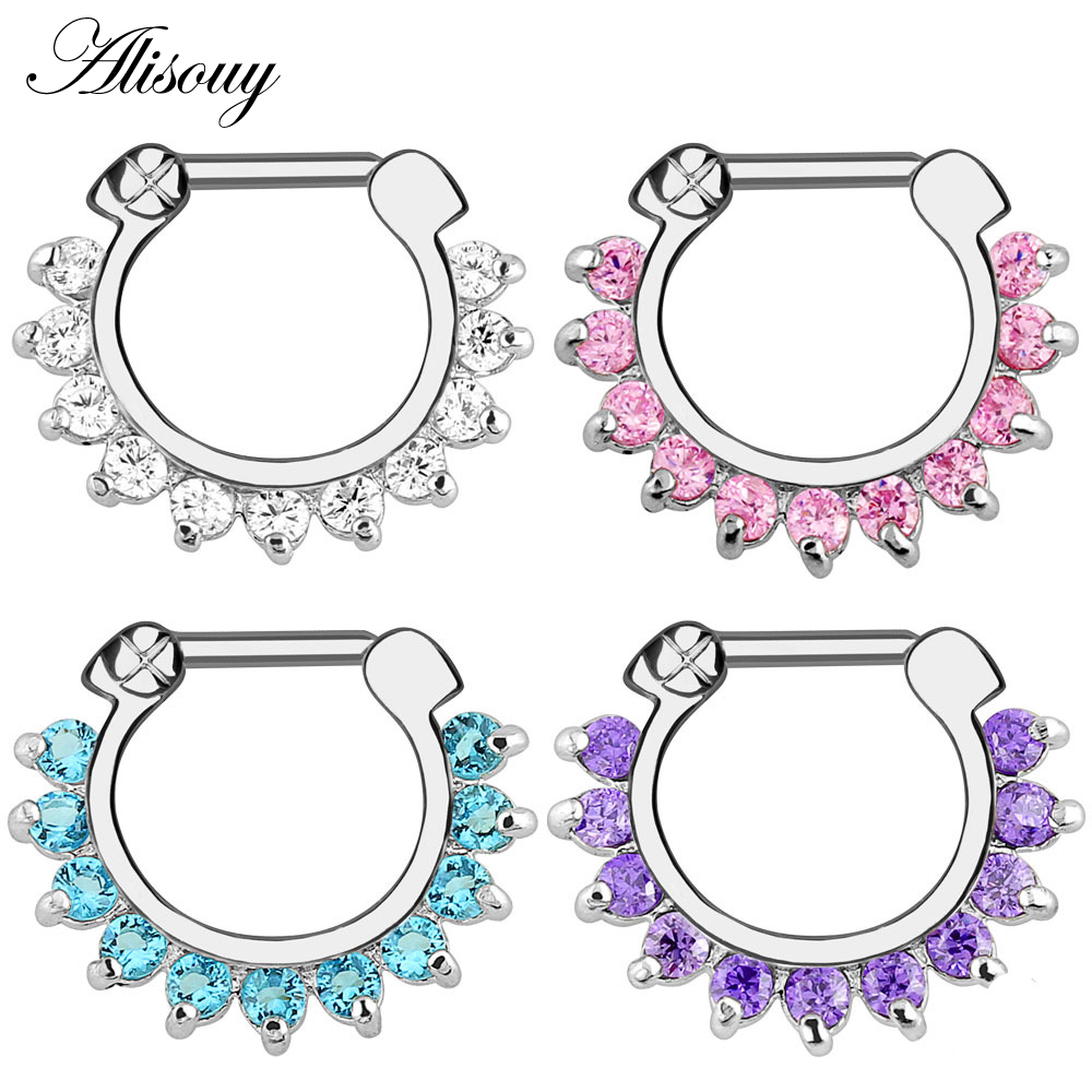 Alisouy 1pcs Nose Ring Body Piercing Jewelry Surgical Steel Cz