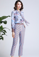 Conjunto dos piezas blusa primavera pantalón rayas