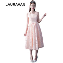 semi formal lace new arrival 2019 pink formal bridesmaid dress party short  elegant bridemaids ball gown dresses tea length 7f1131fbb6d5
