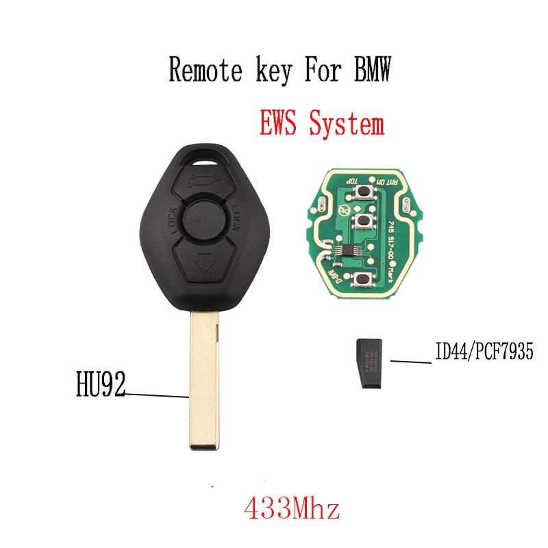 433Mhz Remote key For BMW EWS System X3 X5 Z3 Z4 1/3/5/7 Series For BMW E36 E38 E39 E46 E53 E60 E61 E63 E64 E81 E83 E85 E86 keys(China)