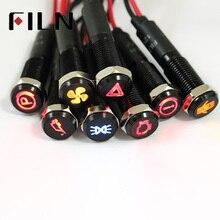 Filn 8 мм черный корпус светодиодный цвет красный, желтый, белый, синий, зеленый 12v Светодиодный индикатор светильник с 20 см кабель