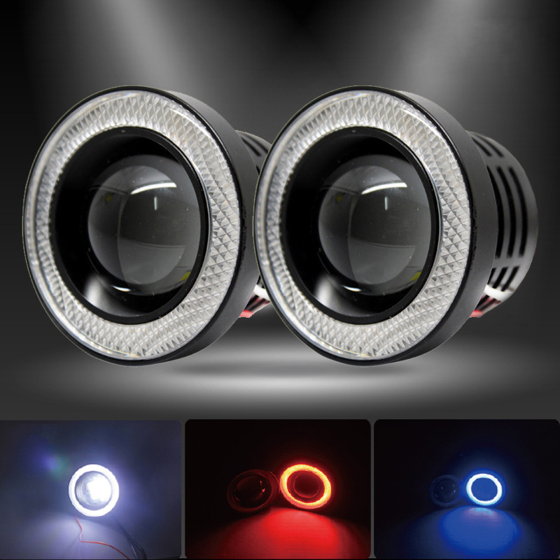 Big Promotion 2pcs High Power 3.5inch 89mm  Projector Universal LED Fog Light w/ White COB Halo Angel Eye Rings 12V White Blue big promotion 100