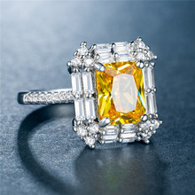 Topaz diamond rings Plated 925 silver Zircon-plated white gold and ring Costume jewelry Luxury B1218