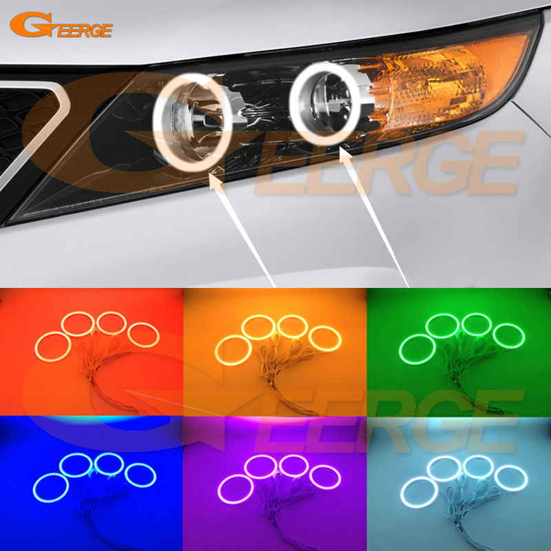 For Kia Sorento 2011 2012 2013 Excellent Angel Eyes Multi-Color Ultra bright RGB LED Angel Eyes kit Halo Rings for chevrolet camaro 2010 2011 2012 2013 excellent angel eyes kit multi color ultrabright rgb led angel eyes halo rings