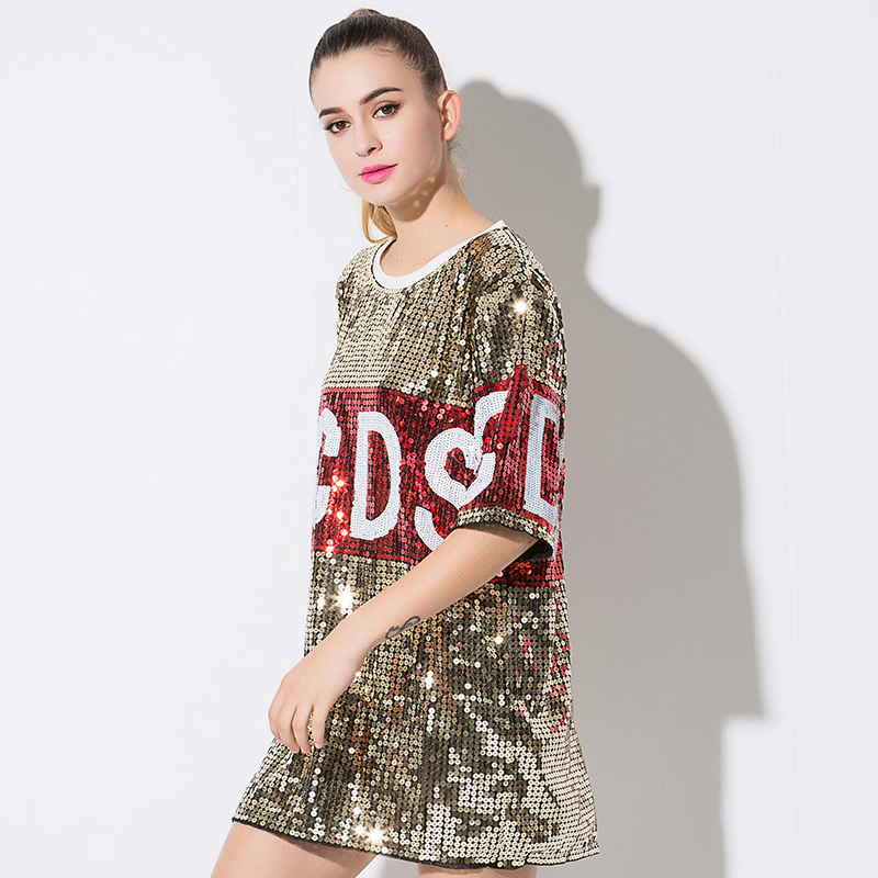 2018 Fashion Hip Hop Bling Sequined Party T shirt Women Street Singer  Perform Tops Stage Jazz Dance Nightclub DS Show Costumes-in Dresses from  Women s ... f886206206fd